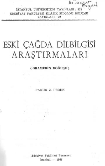 Eski Çağda Dilbilgisi Araştırmaları (Gramerin Doğuşu)